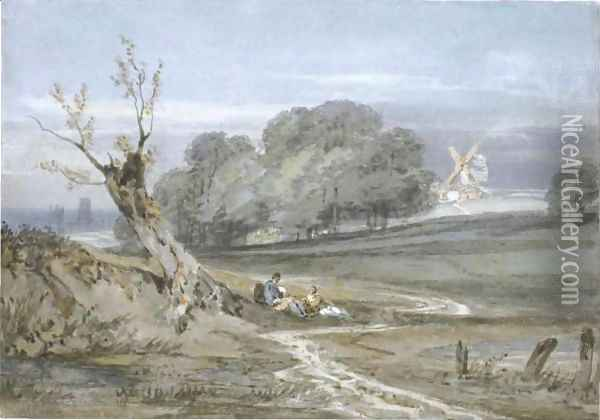 Landscape With Mill, Durham Cathedral In The Background Oil Painting - Joseph Mallord William Turner