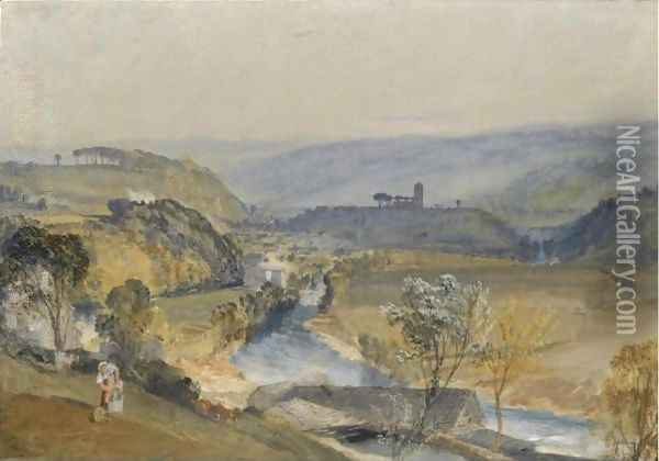 The Valley Of Washburn And Leathley Church Oil Painting - Joseph Mallord William Turner