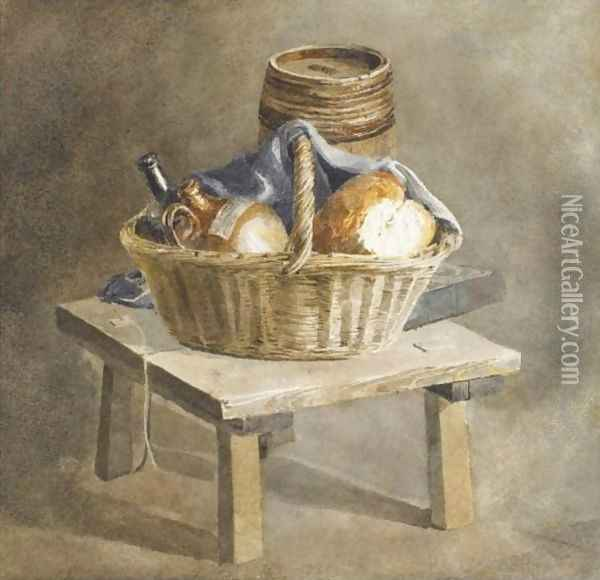 Still Life With Basket, Bread, Bottles And A Keg By A Table Oil Painting - Peter de Wint
