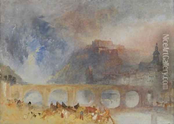 View Of Givet, On The Meuse, South Of Dinant Oil Painting - Joseph Mallord William Turner