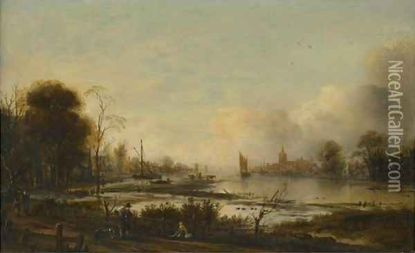 A River Estuary At Dusk With Figures Returning Home Along A Track, A Town Beyond Oil Painting - Aert van der Neer