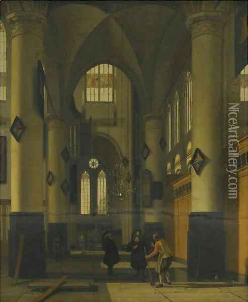 The Interior Of A Protestant Gothic Church, With Elements Of Both The Oude Kerk And Nieuwe Kerk, Amsterdam Oil Painting - Hendrick Van Vliet