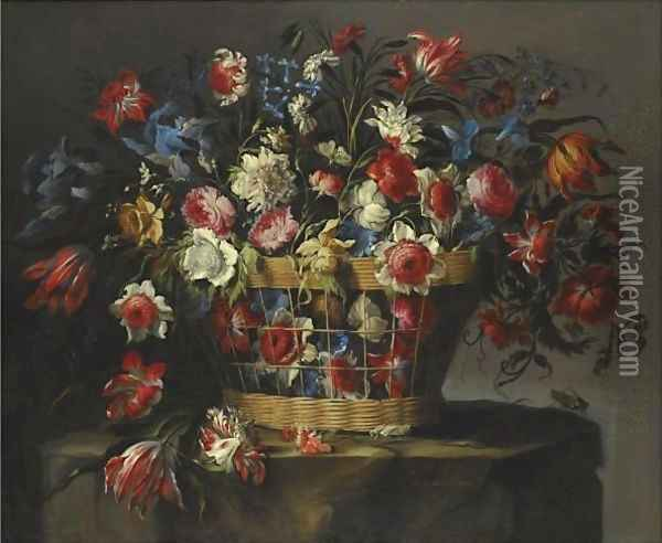 A Still Life With Carnations, Parrot Tulips, Roses, Iris, Daffodils, Morning Glory And Lillies Of The Valley Oil Painting - Juan De Arellano
