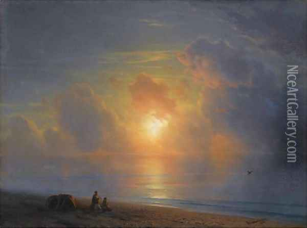 Sunset Over The Crimean Coast Oil Painting - Ivan Konstantinovich Aivazovsky