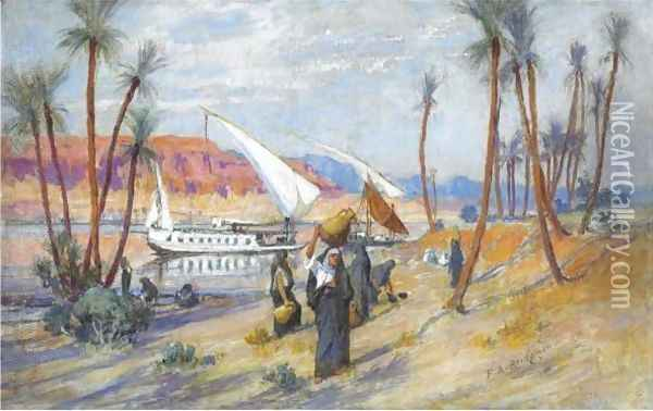 Water Carriers By The Nile Oil Painting - Frederick Arthur Bridgman