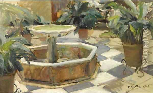 Fountain In A Courtyard, Seville Oil Painting - Joaquin Sorolla Y Bastida