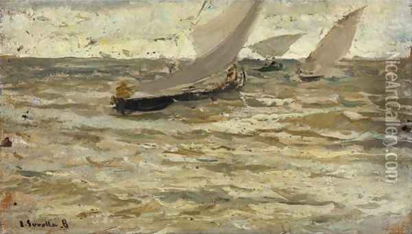 Boats Leaving The Harbour, Asturias Oil Painting - Joaquin Sorolla Y Bastida