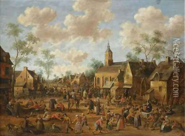 A Village Kermesse, With Numerous Figures Feasting And Conversing In The Street Oil Painting - Joost Cornelisz. Droochsloot