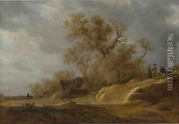 A Dune Landscape With Peasants By A Track Oil Painting - Jan van Goyen
