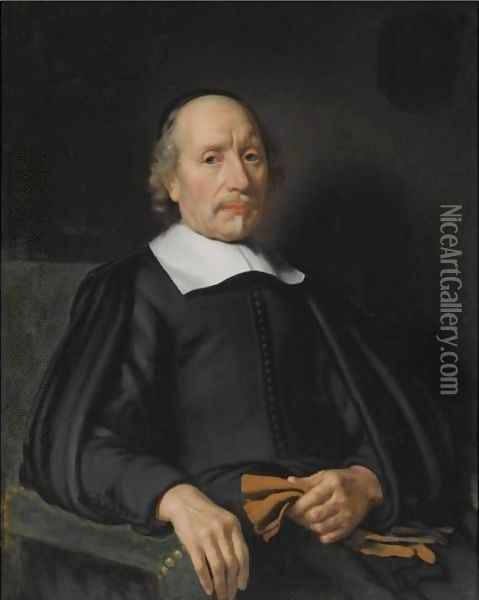 Portrait Of A Man, Seated Half-Length, Wearing A Black Robe With A White Flat Collar, Holding A Pair Of Gloves Oil Painting - Nicolaes Maes