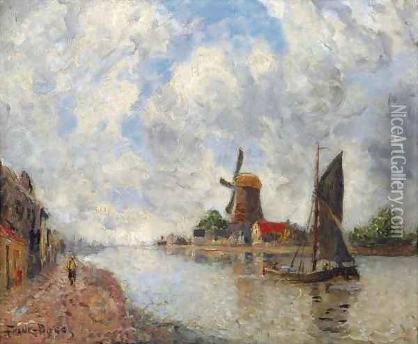 'Canal Pres Delft' (A Canal Near Delft) Oil Painting - Frank Myers Boggs
