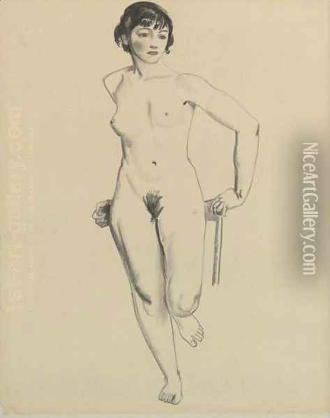 Standing Nude Oil Painting - George Wesley Bellows