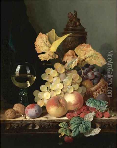 Still Life With Peaches, Plums, Grapes And Walnuts On A Carved Table With A Wine Glass Oil Painting - Edward Ladell