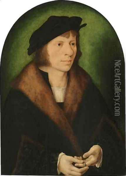 Portrait Of A Man, Half Length, In A Black Cap And A Fur-Trimmed Coat Oil Painting - Joos Van Cleve