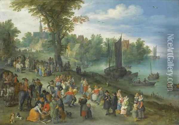 The Edge Of A Village With Figures Dancing On The Bank Of A River And A Fish-Seller Oil Painting - Jan The Elder Brueghel