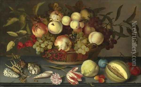 Still Life Of Peaches, Apples, Grapes, Cherries And Redcurrants In A Basket Oil Painting - Balthasar Van Der Ast