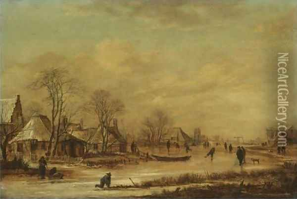A Village Scene In Winter With Skaters On A Frozen River Oil Painting - Aert van der Neer