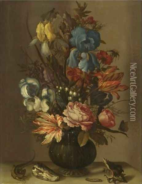 Still Life Of Roses, Tulips, Irises, French Marigold, And Lily Of The Valley In A Glass Vase Oil Painting - Balthasar Van Der Ast