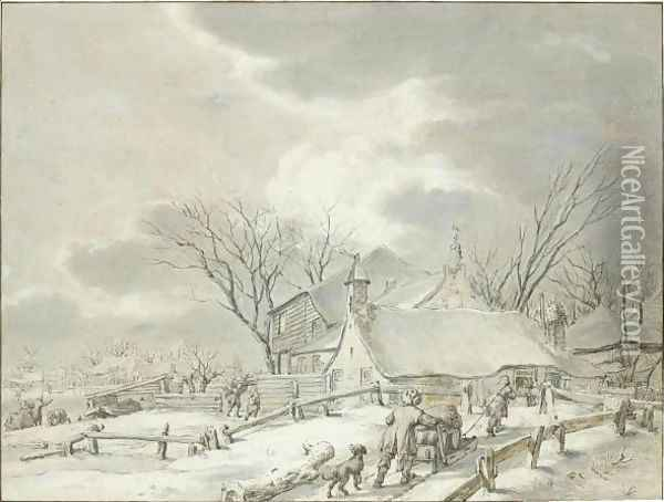 Winter Landscape With Peasants With A Sledge By A Farm, A Town Beyond Oil Painting - Jacob Cats