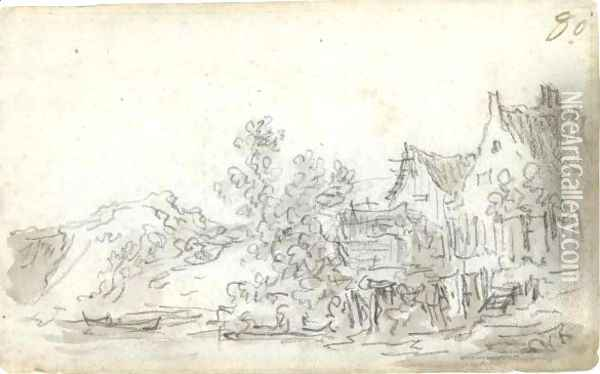 A View Of Gabled Cottages Before A Canal Oil Painting - Jan van Goyen
