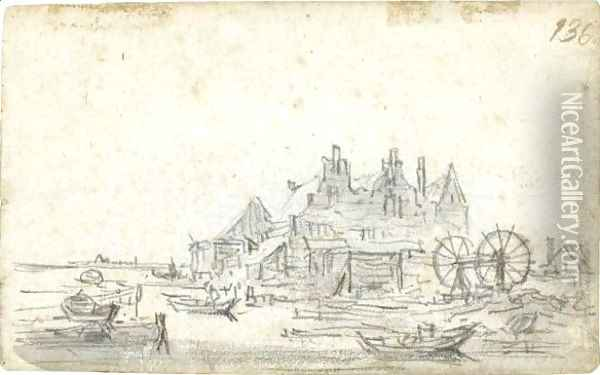 A Three-Gabled House On The Edge Of A Canal, With A Boat-Lifting Mechanism To The Right Oil Painting - Jan van Goyen