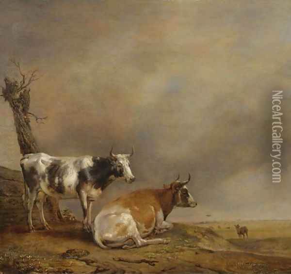 Two Cows And A Goat By A Pollarded Tree In A Landscape With Other Cows In The Distance Oil Painting - Paulus Potter