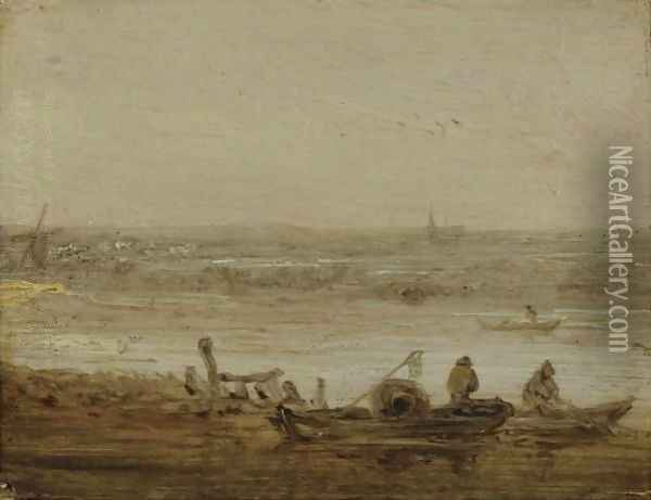 A River Landscape With Fishermen In Boats Hauling In Their Nets, A View Of A Church In The Far Distance Oil Painting - Jan van Goyen