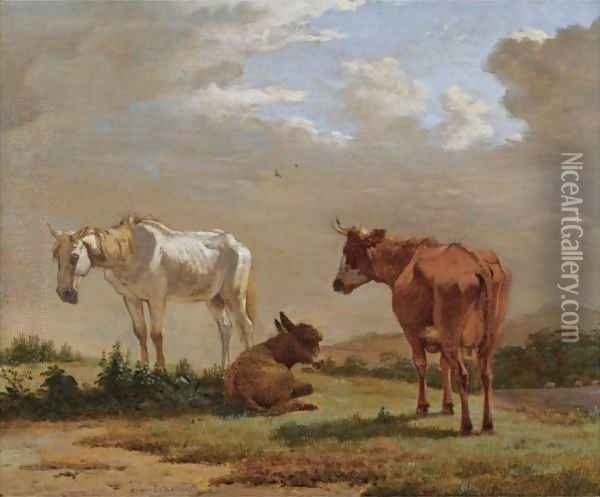 A White Horse, A Cow And A Donkey In A Landscape Oil Painting - Karel Dujardin