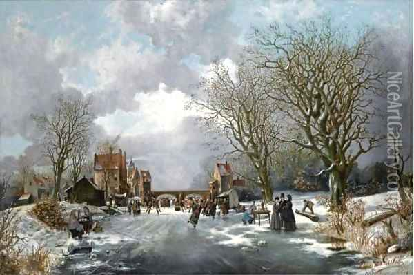 A Dutch Winter Scene With Many Elegant Figures On The Ice Oil Painting - Franciscus Lodewijk Van Gulik