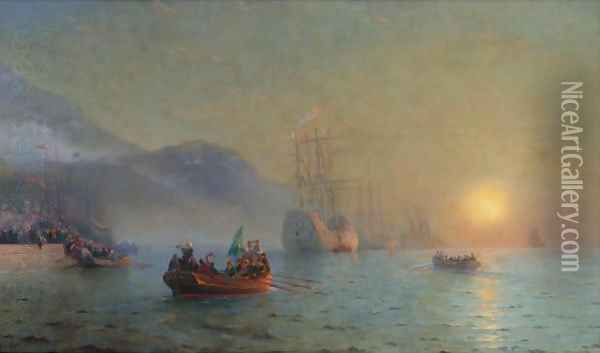 Columbus Sailing From Palos Oil Painting - Ivan Konstantinovich Aivazovsky