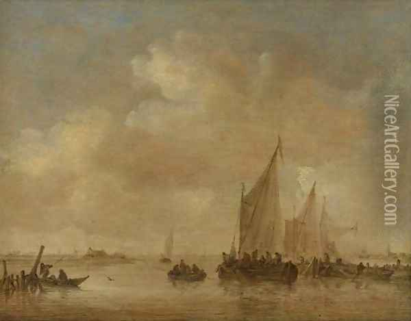 Fishing Boats In An Estuary Oil Painting - Jan van Goyen