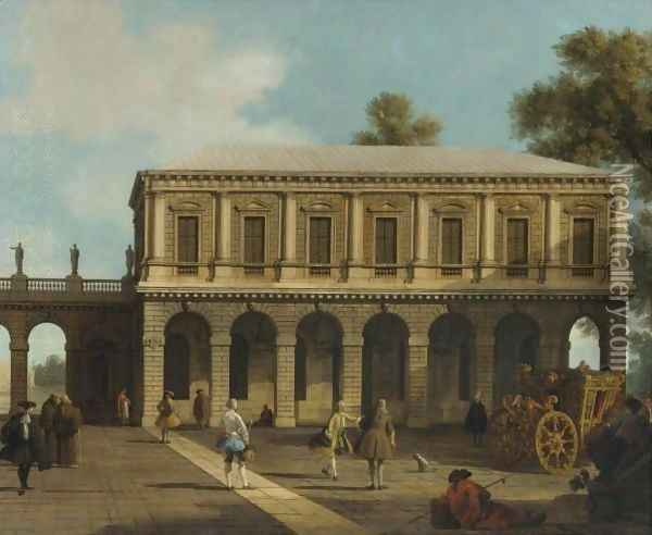 A Capriccio Of The Prisons Of San Marco Set In A Piazza With A Coach And Townsfolk Oil Painting - (Giovanni Antonio Canal) Canaletto