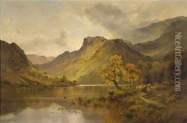 The Gwynant Valley, North Wales Oil Painting - Alfred de Breanski
