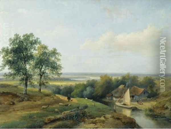 A Herd With His Flock In A Panoramic Summer Landscape Oil Painting - Andreas Schelfhout