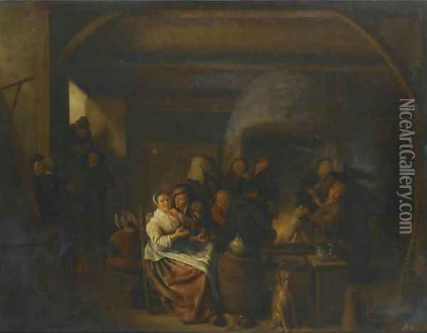 The Interior Of A Tavern With Peasants Cavorting And Drinking Oil Painting - Jan Miense Molenaer