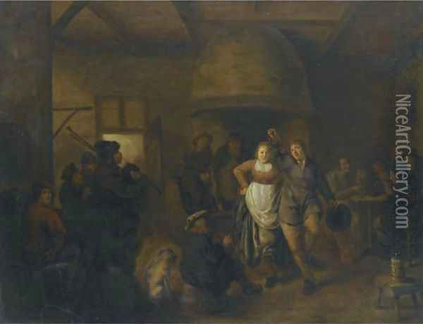 A Tavern Interior With A Bagpiper And A Couple Dancing Oil Painting - Jan Miense Molenaer