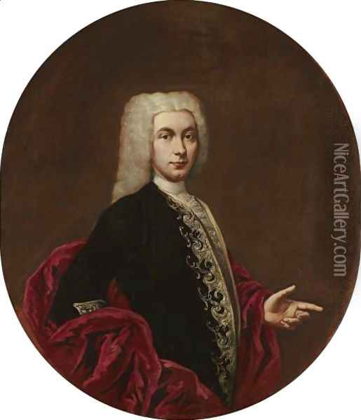Portrait Of A Gentleman, Half-Length, Wearing An Embroidered Doublet Oil Painting - Giacomo Ceruti (Il Pitocchetto)