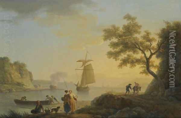 An Extensive Coastal Landscape With Fishermen Unloading Their Boats And Figures Conversing In The Foreground Oil Painting - Claude-joseph Vernet