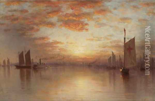 Sunset Over New York Bay Oil Painting - Sanford Robinson Gifford