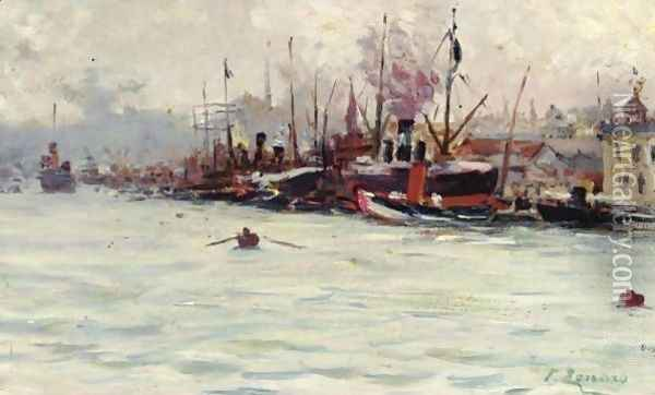 Port Of Galata, Istanbul Oil Painting - Fausto Zonaro