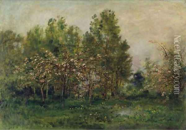 Apple Blossoms 2 Oil Painting - Charles-Francois Daubigny