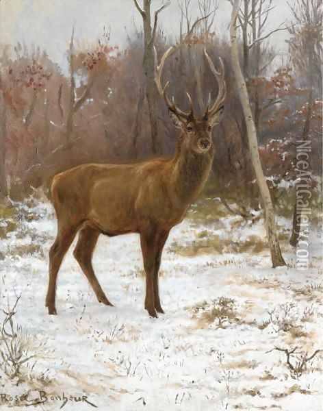 A Stag With Ten Tynes, On The Watch Oil Painting - Rosa Bonheur
