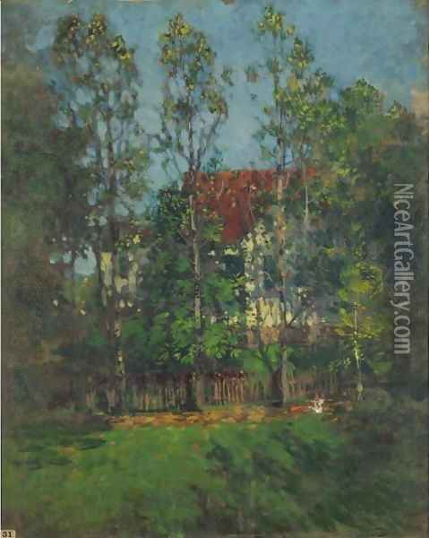 A Red Roof In The Trees Oil Painting - Paul Cornoyer