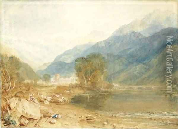 A View From The Castle Of St. Michael, Bonneville, Savoy, From The Banks Of The Arve River 2 Oil Painting - Joseph Mallord William Turner