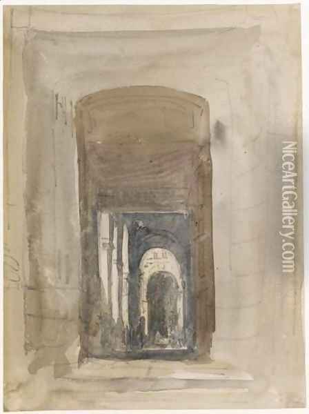 Study For The Door Of The Church Of Saint-Roch, Paris Oil Painting - David Cox
