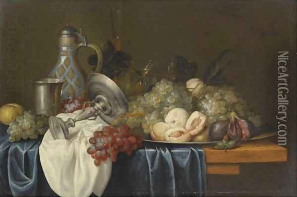 Still Life With Bunches Of Grapes, Peaches And Figs On A Pewter Dish Oil Painting - Alexander Coosemans