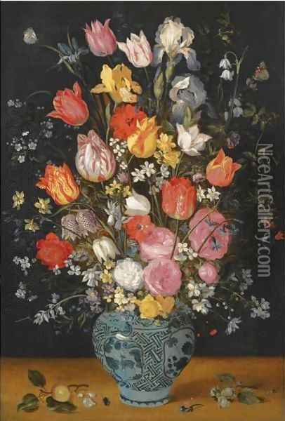 Still Life With Tulips, Roses, Lilies, Irises, Poppies, Hyacinths And Other Flowers In A Blue And White Delft Porcelain Vase Oil Painting - Jan Brueghel the Younger