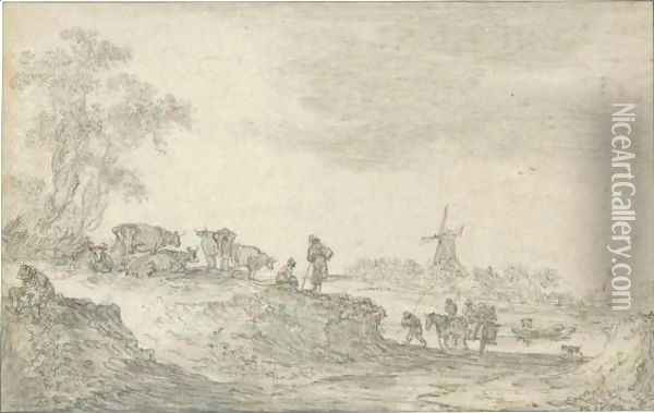 Dune Landscape With Cattle, A Windmill In The Distance Oil Painting - Jan van Goyen