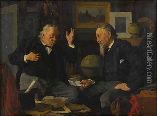 A Worldly Talk Oil Painting - Louis Charles Moeller