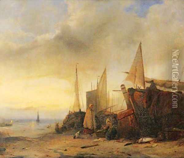 Ships At Low Tide Oil Painting - Jacobus Jacobs